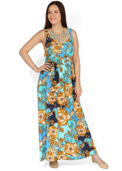 """Selena"" Maternity turquoise dress with ornament"