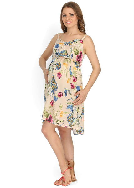 """Kaity"" Maternity beige dress with flowers"