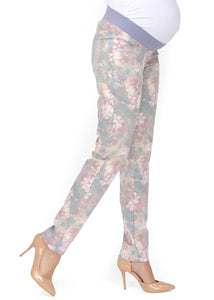 """Belita"" Maternity pants 2 in 1 with flowers"