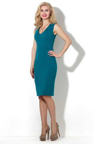 Dress bodycon DSP-53-35 sleeveless dark turquoise