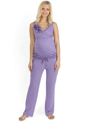 """Maldivy"" KV01 purple Maternity and nursing jumpsuit"