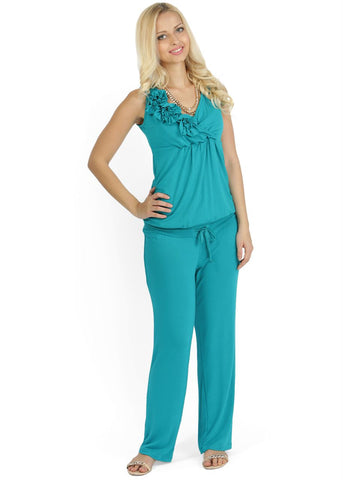 """Maldivy"" KV01 emerald Maternity and nursing jumpsuit"
