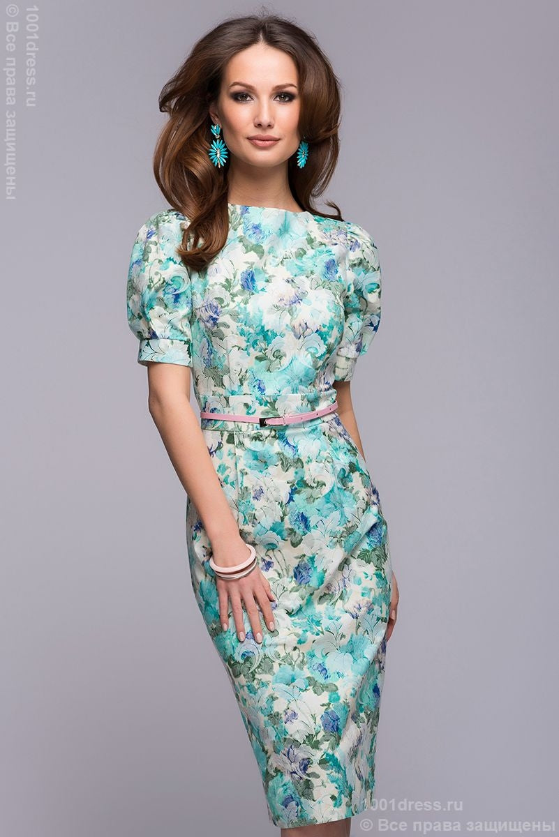 DM00364MF mint dress with floral print and short sleeves