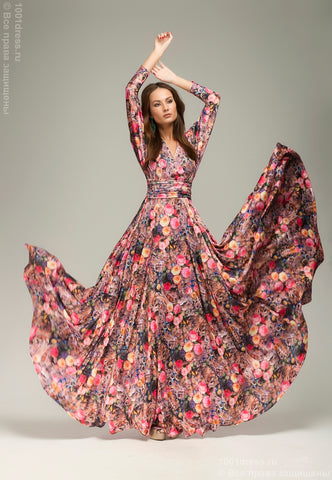 DM00246PP dress purple floral print Maxi length with a full skirt and Dolman sleeve