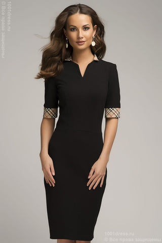 OF00050BK dress black with plaid cuffs and collar