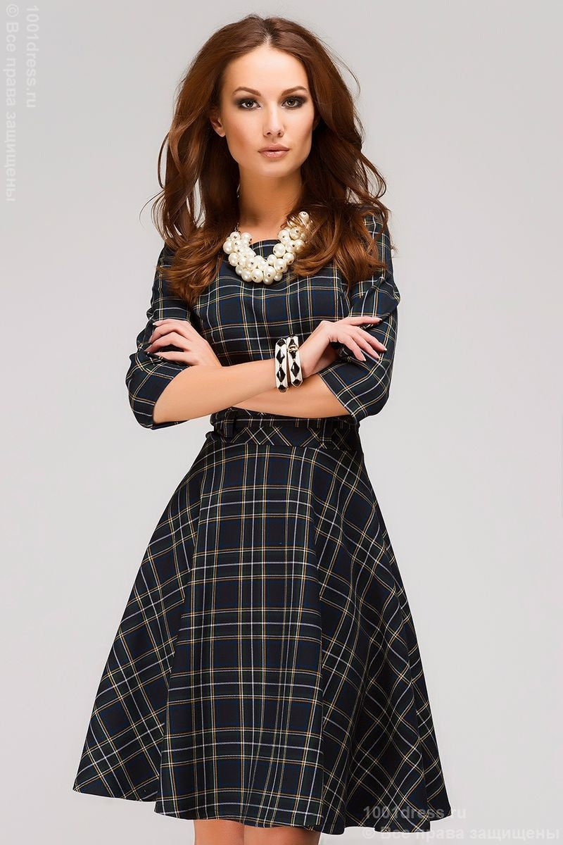 "Dress MM05107DB dark blue with a print ""Scottish cell"""