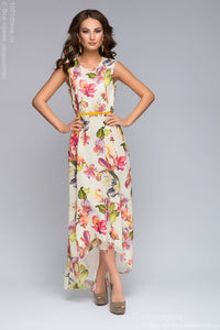 DM00424VA vanilla dress with floral print and asymmetric hem