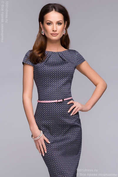 DM00380DB dress Navy MIDI length with small diamond print