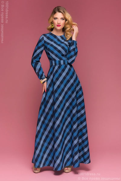 DM00342BB dress length Maxi in black and blue checks