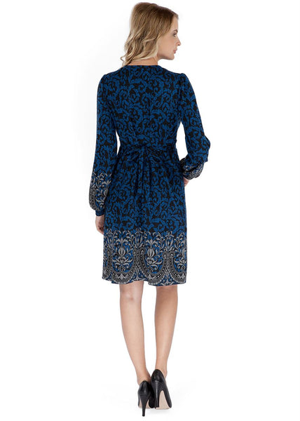 """Chateau"" Maternity and nursing blue dress with gray pattern"