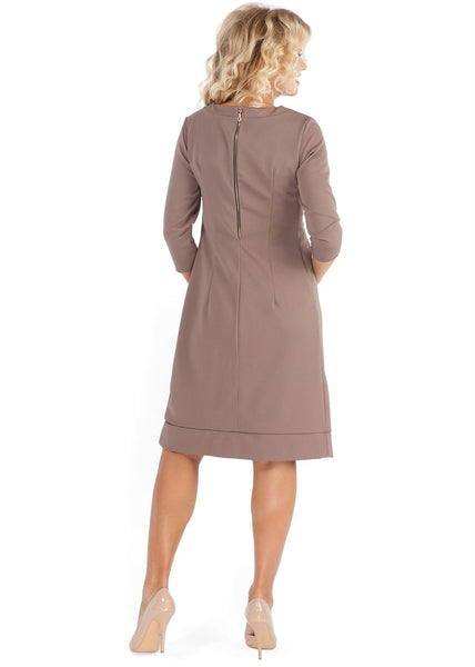 PP09 Maternity and nursing beige dress
