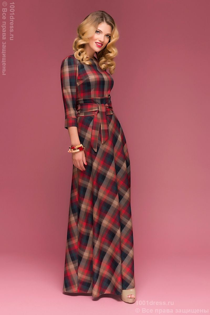 DM00442RG dress length Maxi in red and emerald plaid 3/4 sleeve
