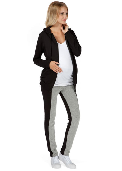 """Lavern"" Maternity grey-black insulated leggings"