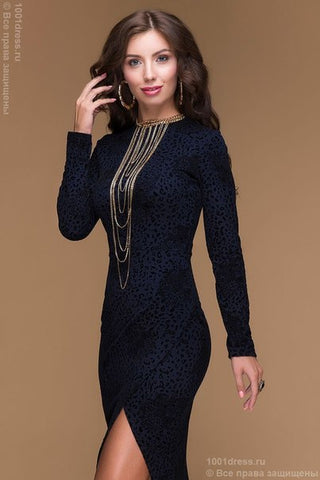 DM00453DB dress Navy MIDI length with a velvet print