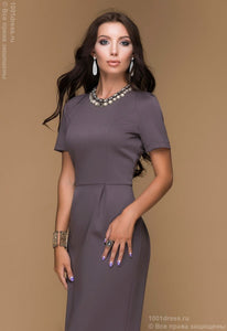 Dress DM00449BG case mocha with tiered hem
