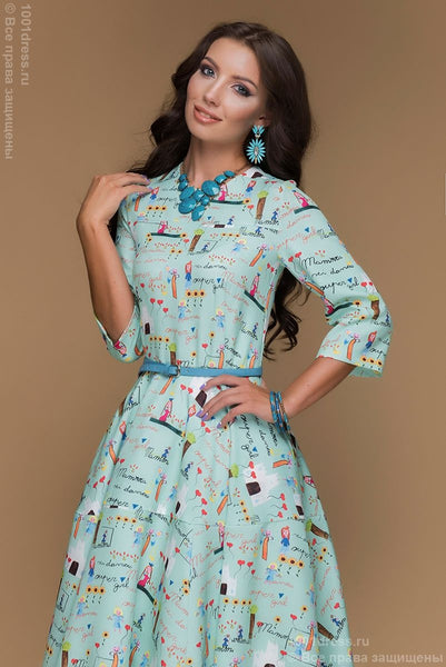 Dress DM00399MN mint color MIDI length with a print and 3/4 sleeve