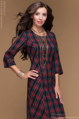 DM00275WE dress length mini in red and blue check 3/4 sleeve