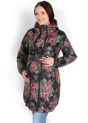 "Jacket demi 3in1 ""Voila"" black roses for pregnant women and babywearing"