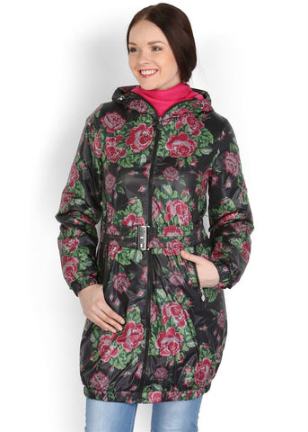"Jacket Demi-season ""Voila"" black with roses"