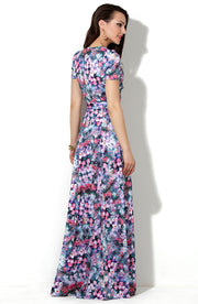 Dress DSP-33-48t purple flowers in Maxi length