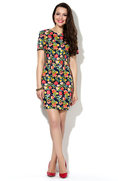 DSP-87-8 Dress cotton Navy blue in flowers