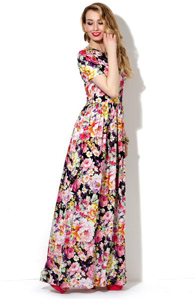 DSP-149-17 Dress with large floral print and short sleeve Maxi length