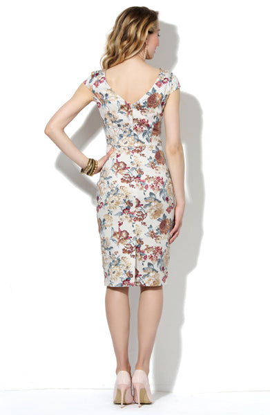 Dress DSP-180-20 beige/flowers cotton