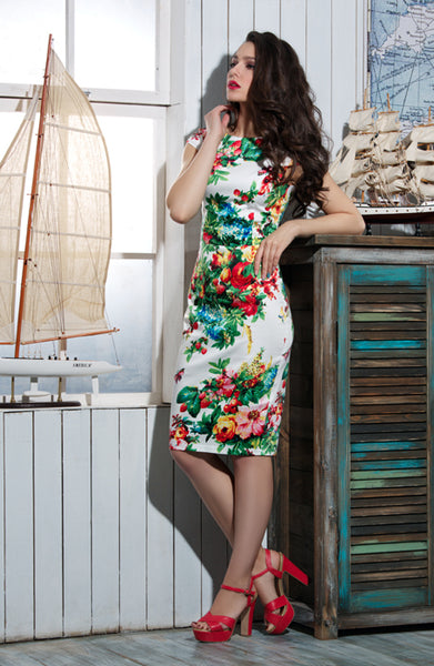 Dress DSP-180-43 white/berry cotton
