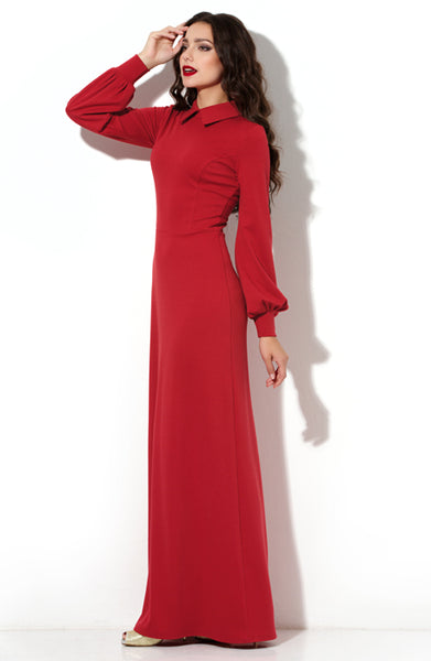 DSP-190-29t Dress length Maxi red Jersey with a collar and cuffs