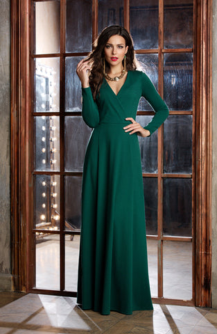 DSP-206-44t Dress length Maxi green velvet