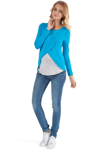 Olga Maternity And Nursing Long Sleeve T-Shirt In Turquoise
