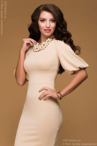 Dress bodycon DSP-169-45 creamy with a lush sleeve