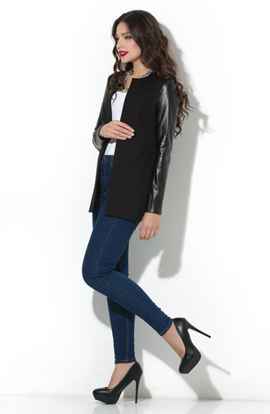Cardigan DSK-05-4 black with sleeves of synthetic leather