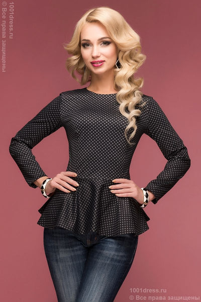 DM00465BK blouse with peplum grey with black print
