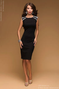DM00435BK black dress of mini length with lace trim on the back