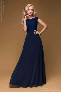 DM00475DB dress Navy Maxi length with lace top sleeveless