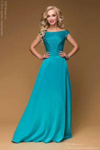 DM00475TR turquoise dress Maxi length with lace top