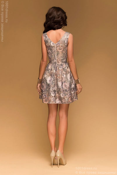 Dress the DSP-223-10 cocktail green brocade pattern gold