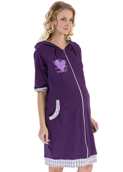 """Adel"" Maternity violet dressing gown"