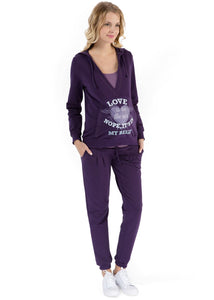 """Oliver"" Maternity and nursing purple suit"