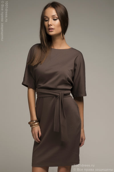 DM00211BR Dress mocha color bat sleeve with belt