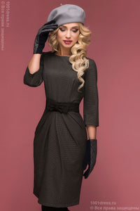 Dress DM00471GY color Dress anthracite mini length with 3/4 sleeves and bow at waist