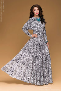 DM00246BK dress black and white Maxi length with a full skirt and Dolman sleeve