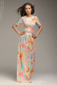DM00035LB dress Gown blue printed Maxi length with belt