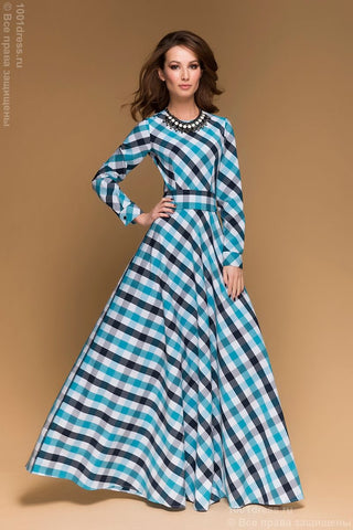 DM00096TR dress length Maxi in turquoise cage