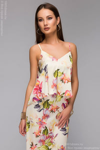 DM00427VA vanilla Dress Maxi length with a large floral print and faux top