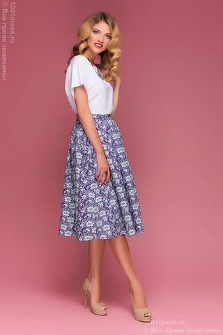 DM00445PP purple skirt MIDI length with flowers