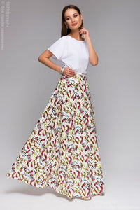 "DM00430WH white skirt Maxi length print ""birds"""