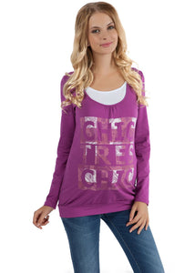 "Maternity And Nursing Long Sleeve T-Shirt ""Gabija"" In purple"