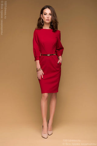 DM00436RD red dress of mini length with full sleeves